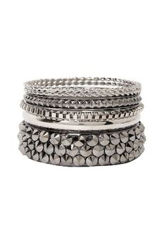 Hematite And Silver Spike Bangle 6 Pack $16.50