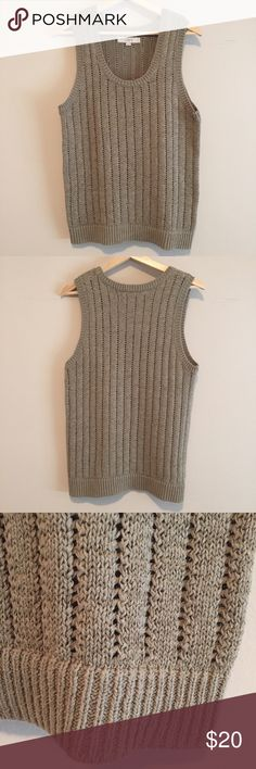 open knit sweater in taupe pullover sleeveless sweater • color: taupe • worn once - excellent condition • content: 41% ramie, 34% cotton, 25% nylon • it says machine wash but I had it dry cleaned to keep it's shape • no trades LOFT Sweaters