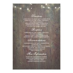 String Lights and Rustic Wood Wedding Information Card