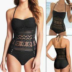 Cute black see-through bathing suit