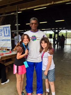 "Harlem Globetrotters Legend Larry ""Gator"" Rivers, a great supporter over the years to ECNT. Here he is with my girls at Autism Speaks U Walk for Autism 2014 at Lake Mayer Savannah, Ga"