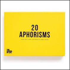 The School of Life 20 Aphorisms Card Set, $25.95 Sentences, Company Logo, Yellow, Grey, School, Cards, Life, Frases, Gray