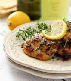 Limoncello and Herb Barbecue Chicken Thighs | @creativculinary
