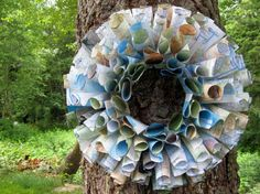 Upcycled wreath from Atlases.