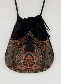 Classy Chenille  Boho Bag  Green and Black Drawstring Bag  Black Velvet Bag  Bohemian Bag  Crossbody Purse by piperscrossing on Etsy