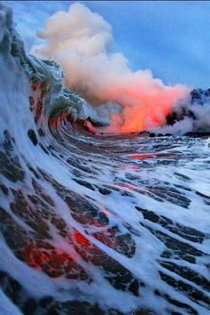 Lava meets water, Hawaii