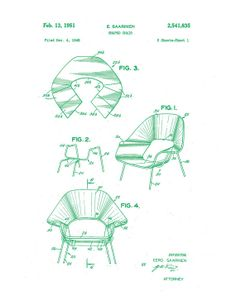 Patent application rendering - Eero Saarinen Womb Chair