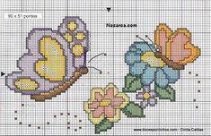 butterfly and flowers done in plastic canvas. 123 Cross Stitch, Cross Stitch Needles, Cross Stitch Borders, Cross Stitch Animals, Cross Stitch Charts, Cross Stitching, Cross Stitch Embroidery, Embroidery Patterns, Cross Stitch Patterns