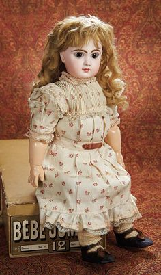 """An All-Original French Bisque Bebe Jumeau,Size 12,with Original Chemise and Box 25"""" (64 cm.)"""