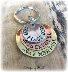 Love Story, Personalised Keyring, Gifts for Valentines Day, Keychain, Gifts for Husband, Boyfriend, Fiance, First Date, Engaged, Married by StampingStreet on Etsy https://www.etsy.com/listing/501597161/love-story-personalised-keyring-gifts