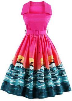 Belted Printed Square Collar Rose Dress on sale only US$34.90 now, buy cheap Belted Printed Square Collar Rose Dress at liligal.com