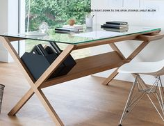 This is a desk that opens up to the world. Glass top, slim top drawer, angled shelf. | The Covet Desk by Shin Azumi