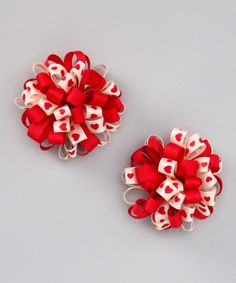 Do --- This Cream & Red Loopy Puff Bow Clip - Set of Two by Bubbly Bows is perfect! #zulilyfinds