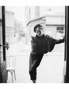 """Monique in Christian Dior """"Dickens"""" Ensemble, photo by Richard Avedon, Paris, 1948"""