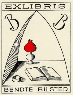 Book plate depicting black, white, and red. Owner's initials at top left and right. Bottom is open book, at center is a red lamp | University Libraries