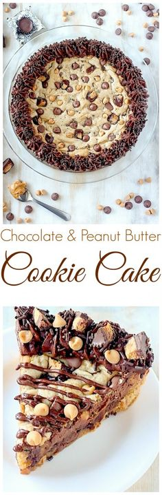 Ultimate Peanut Butter Chocolate Chip Cookie Cake - a must for chocolate and peanut butter lovers!