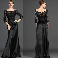 Black Lace 3 4 Sleeves with Satin Floor Length Formal Evening Party Dress Custom | eBay