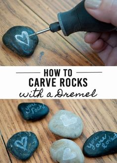 How to Carve Amazing Rocks using a Dremel Tool! I like the idea of carving rocks, but how this person did this without securing the rock with a clamp is dangerous. Otherwise, the Dremel can slip and cut into flesh quickly. Ideas Dremel, Dremel Tool Projects, Craft Projects, Garden Projects, Stone Crafts, Rock Crafts, Arts And Crafts, Diy Crafts, Crafts With Rocks