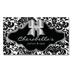 Salon Spa Business Card Silver Bow Jewel Damask