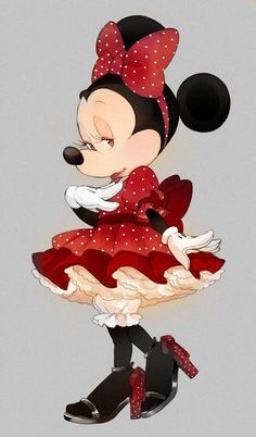 Sweet Minnie Mouse in red with tiny polka dots all around Minnie Mouse Pictures, Mickey Mouse Images, Mickey Mouse Art, Mickey Mouse Wallpaper, Mickey Mouse And Friends, Mickey Minnie Mouse, Disney Wallpaper, Walt Disney, Disney Art