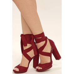 Dorian Dark Red Suede Lace-Up Platform Heels ($33) ❤ liked on Polyvore featuring shoes, pumps, red, red platform pumps, platform shoes, red pumps, dark red pumps and red peep toe pumps