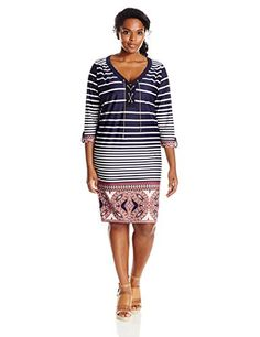 NY Collection Womens PlusSize Printed 34 Sleeve Dress with Chain Lace Up At Front Stripe Funwheel 3X undefined undefined