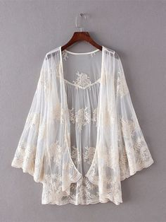 Description: Material:Mesh Style:Fashion Sleeve Length:Long Sleeve Color:Off White Season:Spring Summer Package included: 1*Cardigan