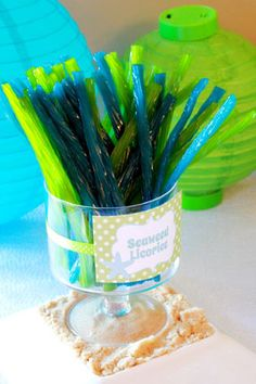 Beach theme party candy blue and green licorice sticks seaweed sticks candy seaweed