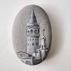 Galata Kulesi - (taş boyama) by Salim Besirli