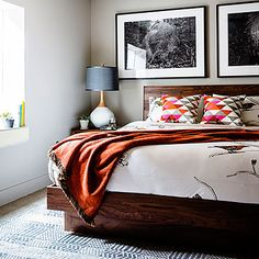For a bright and colorful bedroom, use warm accents.