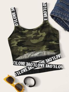 Shop Navy Tie Dye Print Halter Neck Top at ROMWE, discover more fashion styles online. Cute Crop Tops, Cami Tops, Women's Tops, Vetement Hip Hop, Teen Fashion Outfits, Camo Print, Crop Tank, Cute Outfits, Teen Fashion