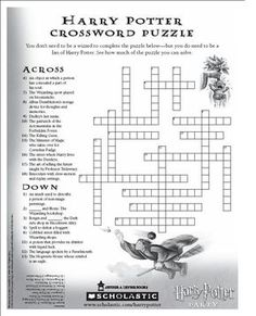 Harry Potter Crossword Puzzle. I will download this.
