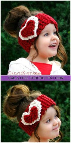 Crochet Heart Ear Warmer Free Pattern for Valentine