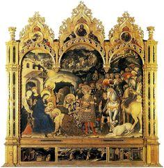 Adorazione dei Magi  (Gentile da Fabriano, 1423, Galleria degli Uffizi, Firenze), 300 X 282cm, Tempera su tavola.