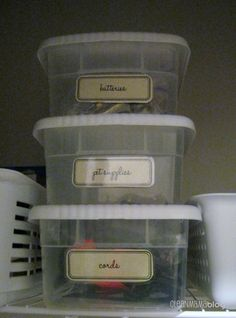 Organizing the mud room, includes printable labels and blank labels for the boxes and containers