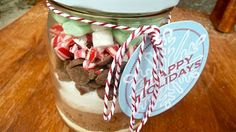 MOPS idea - cocoa in a jar.  For Christmas or anytime of year in different packaging.