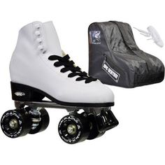 Epic Classic White and Black Quad Roller Skates Package