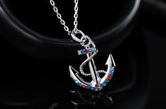 Jeweled Anchor Necklace