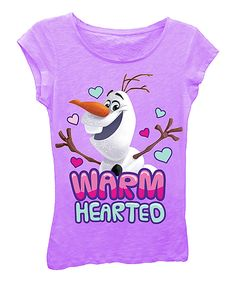 Loving this Frozen Olaf Lilac 'Warm Hearted' Tee - Girls on #zulily! #zulilyfinds