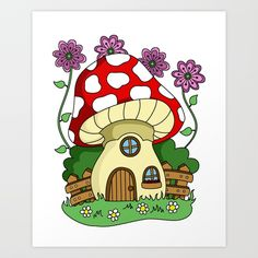 Mushroom, toadstool fairy house. Red top with white spots, a wooden door and two windows. A wooden fence, purple flowers and green grass. #fairyhouses #fantasyart #toadstool #mushroom #digitalart #artprint #print #society6