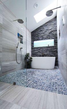 40 Pebble Tile Bathroom Ideas 26