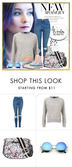 """""""Baby, we're the new romantics"""" by petulia-maker ❤ liked on Polyvore featuring Topshop, Converse, StreetStyle, colorful, paintsplatter and contestentry"""
