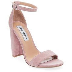Steve Madden Women's Carrson Sandals ($90) ❤ liked on Polyvore featuring shoes, sandals, mauve suede, fleece-lined shoes, synthetic leather shoes, synthetic leather sandals, block heel sandals and synthetic shoes
