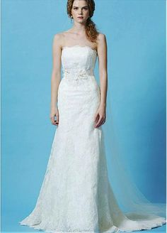 Gorgeous Lace Strapless Neckline Natural Waistline A-line Wedding Dress With Beaded Lace Appliques