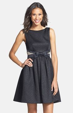 bow detail jacquard fit & flare dress / erin by erin fetherston