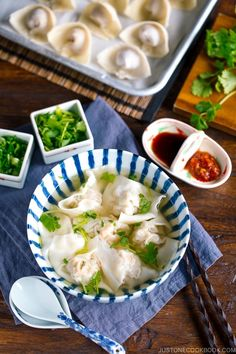 Whip up classic Shrimp and Pork Wonton Soup at home! This quick comforting meal takes just 20 minutes to make and uses basic Asian pantry ingredients. #wonton #wontonsoup | Easy Japanese Recipes at JustOneCookbook.com