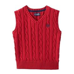 CHAPS Newborn Baby Boy Red V-neck Cable Knit Holiday Sweater Vest Sz NB 0-3M NWT