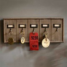 Rustic Wooden Hotel Key Holder. Perfect for mudroom key rack for extra keys.