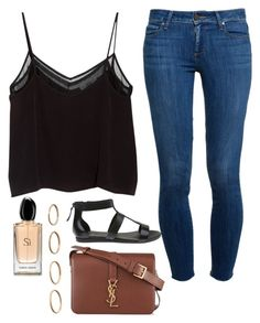"""""""inspired by savannah montano"""" by toridowker ❤ liked on Polyvore featuring MANGO, Paige Denim, Lacoste, Giorgio Armani and Yves Saint Laurent"""