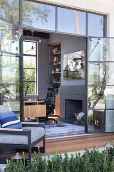 When your home office has Riviera Bronze doors that open up to a beautiful patio with ipe decking you may find yourself out of office more often than you think! Black French Doors, Internal French Doors, French Doors Patio, Patio Doors, Entry Doors, Front Doors, Interior Barn Doors, Exterior Doors, Steel Doors And Windows